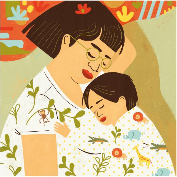 Maman et enfants dormentnt